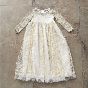 Ivory lace long sleeve maxi dress